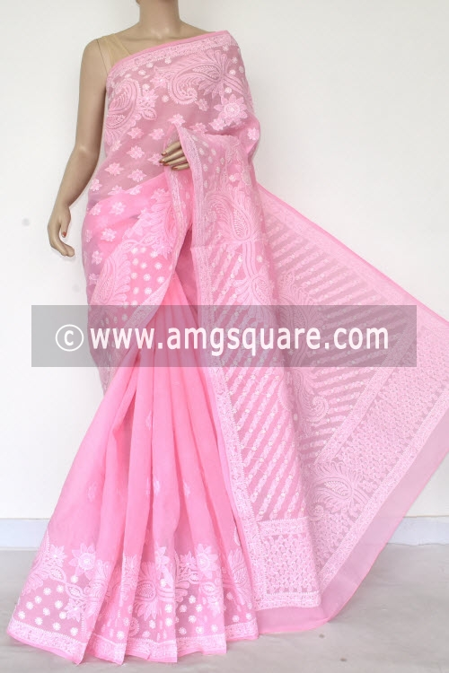 Baby Pink Hand Embroidered Lucknowi Chikankari Saree (With Blouse - Cotton) Half Jaal 14768