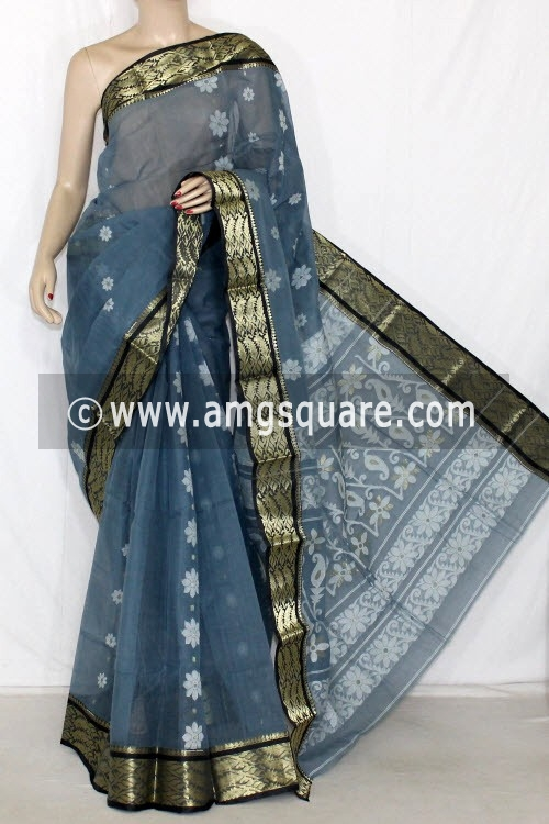 Greyish Blue Handwoven Bengal Tant Cotton Saree (Without Blouse) Zari Border 14133