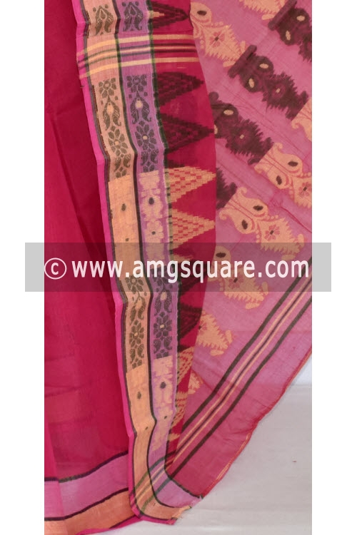 Rani Pink Handwoven Bengal Tant Cotton Saree (Without Blouse) 17354