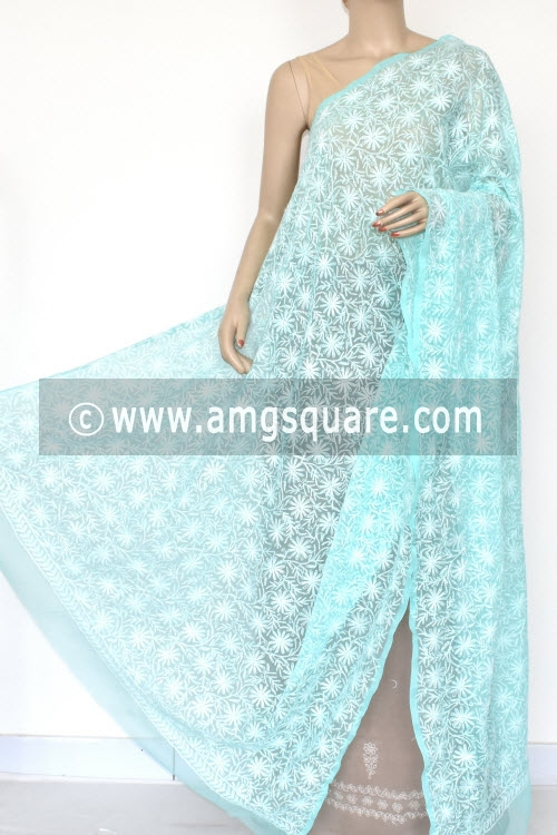 Sea Green Hand Embroidered Allover Tepchi Work Lucknowi Chikankari Dupatta (Georgette) 17945