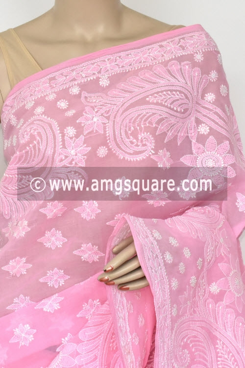 83418aa070 Baby Pink Hand Embroidered Lucknowi Chikankari Saree (With Blouse - Cotton)  Half Jaal 14768
