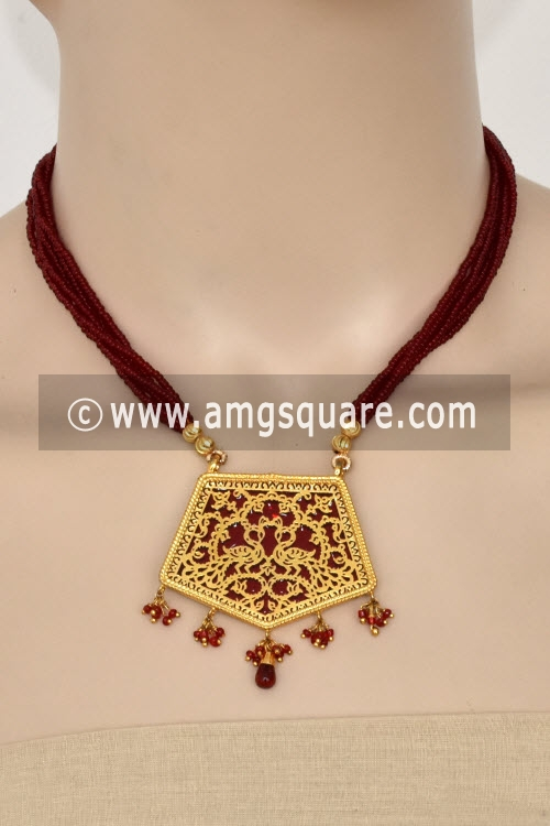Maroon Traditional Thewa Pendant Set 11233