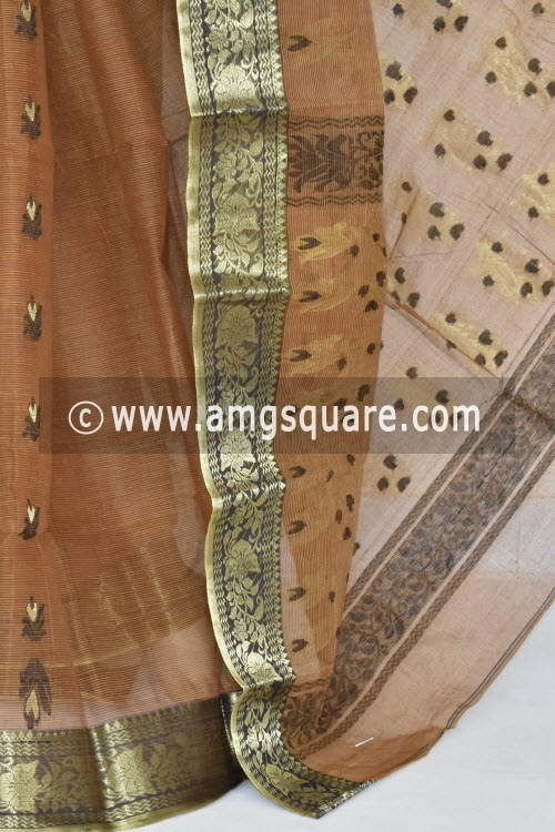 Chocolate Handwoven Bengal Tant Cotton Saree (Without Blouse) Zari Border 17373