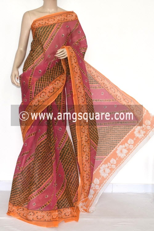 Yellow Pink JP Kota Doria Printed Cotton Saree (without Blouse) 15331