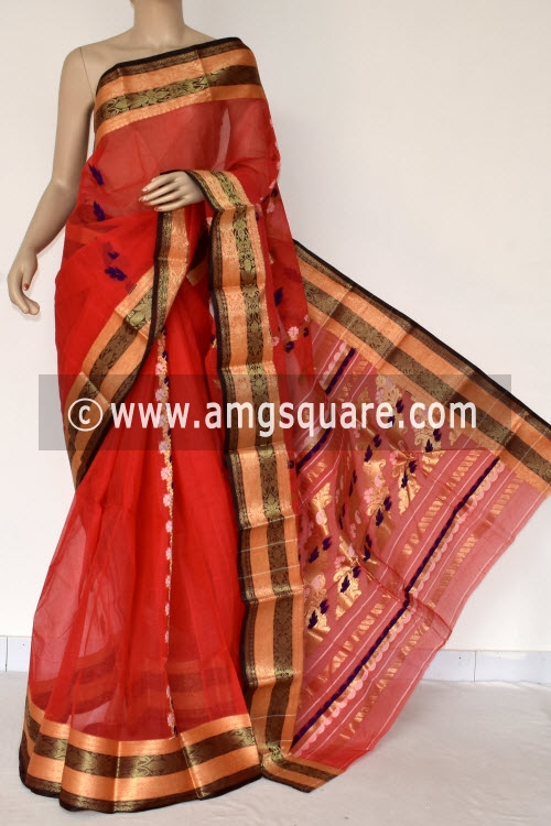Red Handwoven Bengal Tant Cotton Saree (Without Blouse) Zari Border Rich Pallu 14196