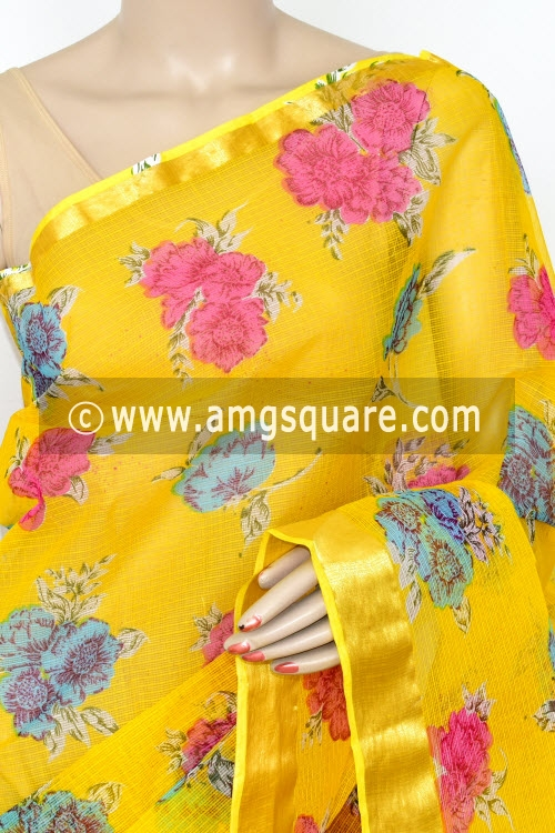 Yellow JP Kota Doria Floral Printed Cotton Saree (without Blouse) Zari Border 13529