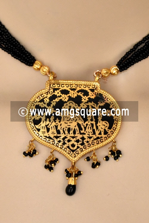 Black Traditional Thewa Pendant Set 11269