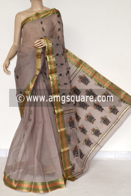 Light Chocolate Handwoven Bengal Tant Cotton Saree (Without Blouse) Zari Border 17390