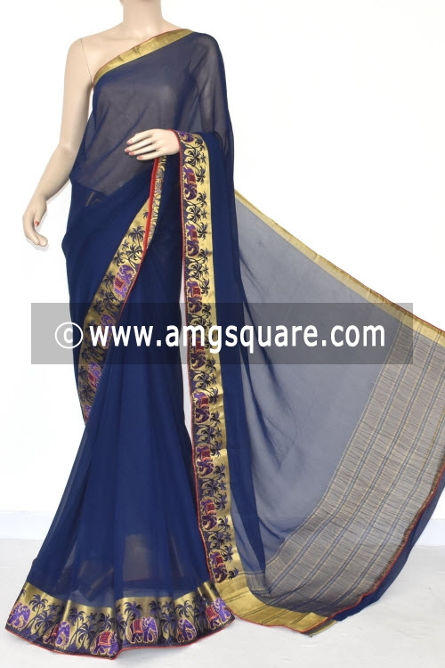 Navy Blue Handloom Semi-Chiffon Saree (with Blouse) Embroidery on Zari Border 16179