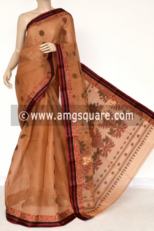 Fawn Handwoven Bengal Tant Cotton Saree (Without Blouse) Resham Border 17398