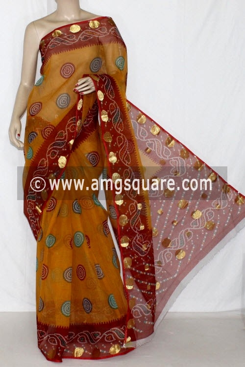 Mustared Maroon JP Kota Doria Printed Cotton Saree (without Blouse) Zari Border & Pallu 15252