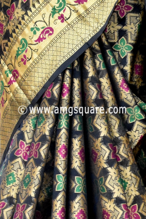Black Handloom Banarasi Kora Saree (with Blouse) Allover Resham Weaving 16246