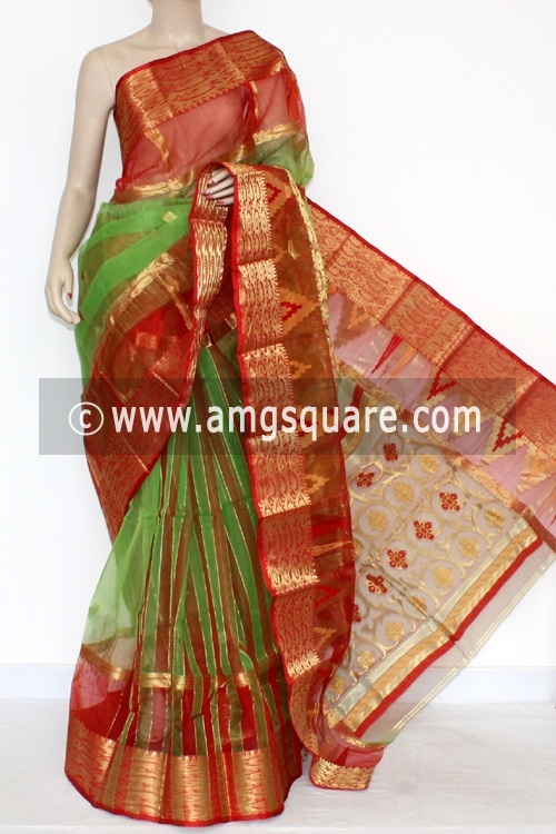 Green Red Handwoven Bengali Tant Cotton Saree (Without Blouse) Zari Border 17092