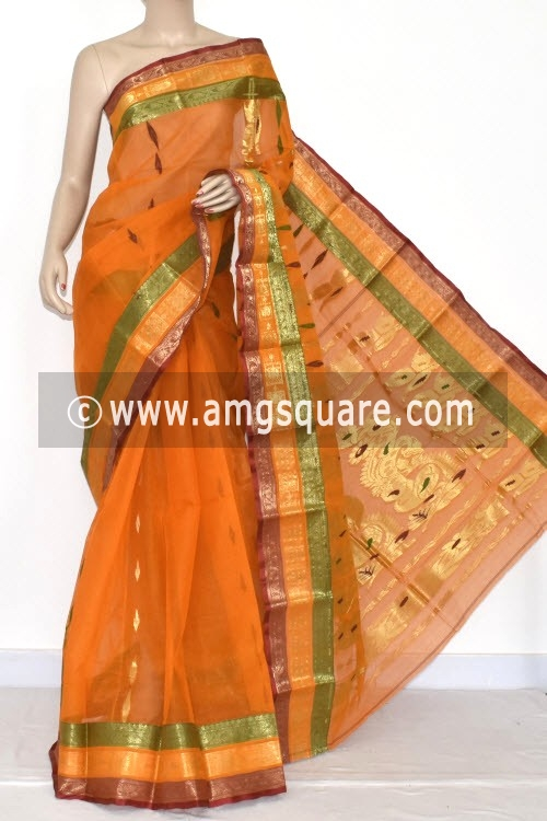 Orange Handwoven Bengal Tant Cotton Saree (Without Blouse) Zari Border 14190