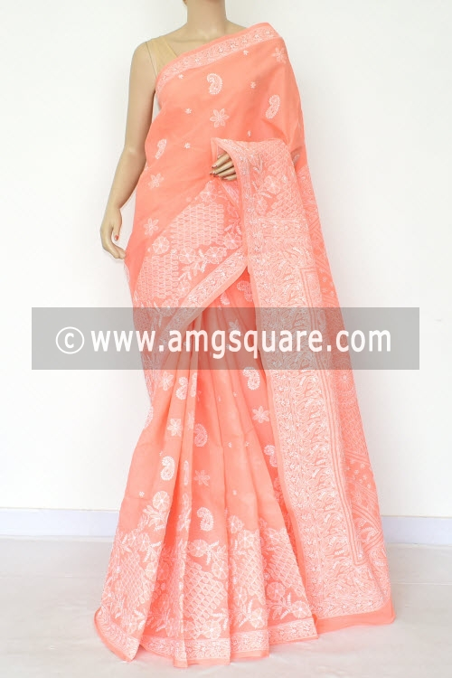 Peach Hand Embroidered Lucknowi Chikankari Saree (With Blouse - Cotton) Rich Border and Pallu 14765