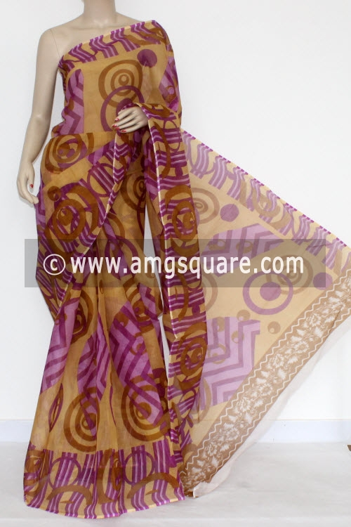 Purple Premium JP Kota Doria Printed Cotton Saree (without Blouse)13582