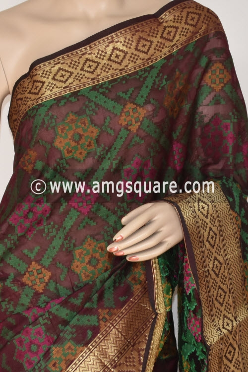 Coffee Color Handloom Banarasi Kora Saree (with Blouse) Allover Resham Weaving 16241
