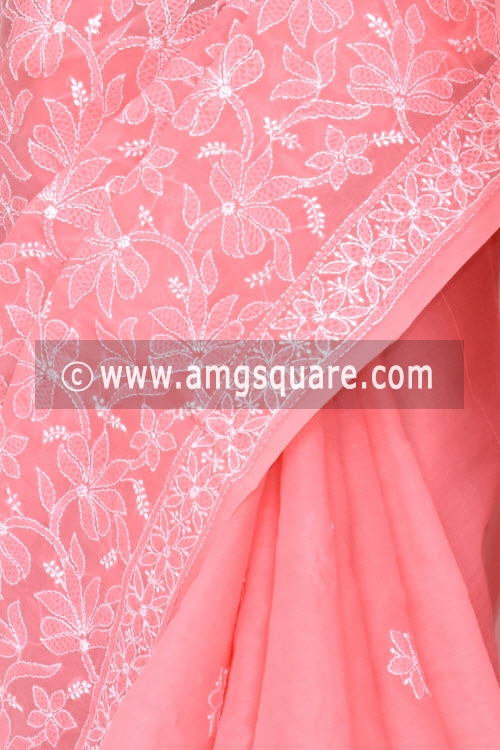 Peach Hand Embroidered Lucknowi Chikankari Saree (With Blouse - Cotton)  Half Jaal 14753