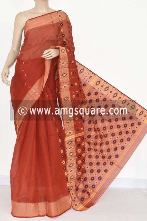 Rust Handwoven Bengal Tant Cotton Saree (Without Blouse) 16999