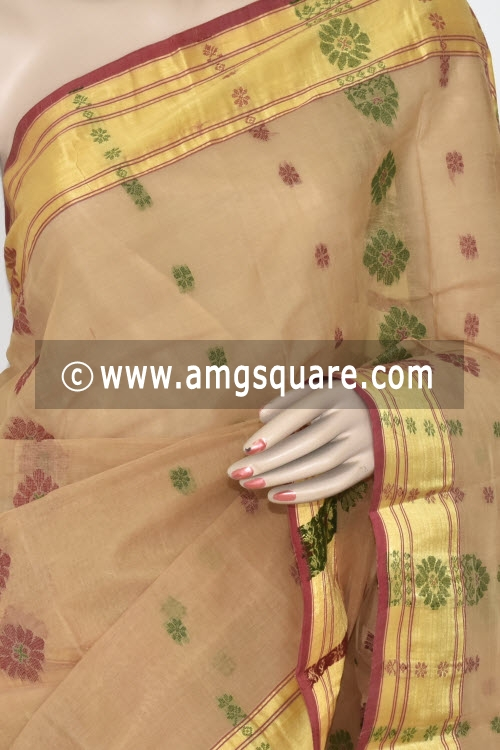 Fawn Handwoven Bengal Tant Cotton Saree (Without Blouse) 17364