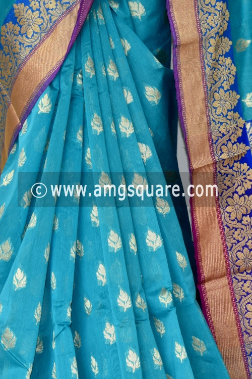 Pherozi Blue Handloom Chanderi Cotton Saree (with Blouse) Allover Resham Weaving 16212