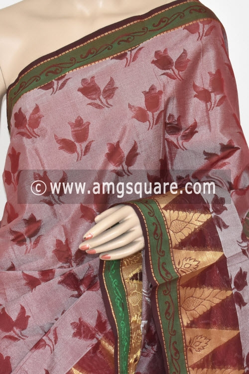 Maroon Handloom Banarasi Semi Cotton Saree (with Blouse) Allover Resham Weaving 16235