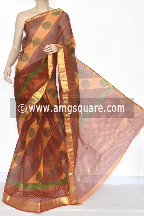 Red Laheria JP Kota Doria Chunri Print Cotton Saree (without Blouse) Zari Border 15351