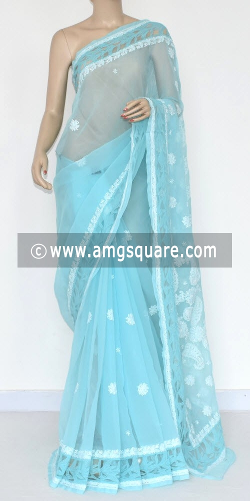 Light Blue Hand Embroidered Lucknowi Chikankari Saree (With Blouse - Georgette) 14299