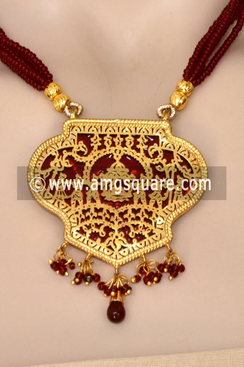 Maroon Traditional Thewa Pendant Set 11237