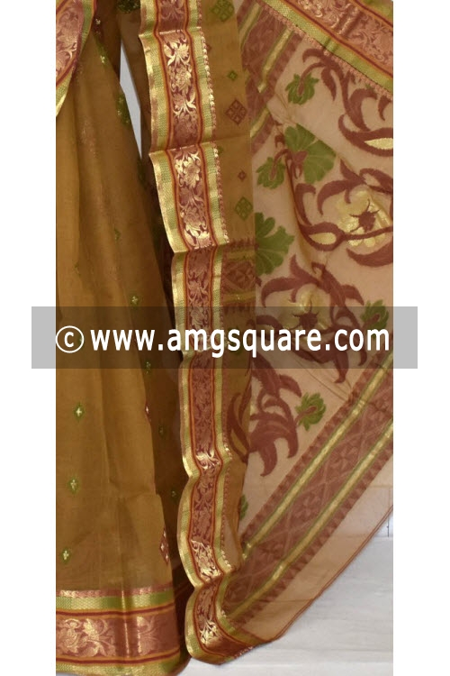 Menhdi Green Handwoven Bengal Tant Cotton Saree (Without Blouse) Zari Border 14113