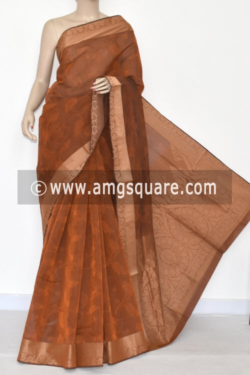 Rust Dhoop-Chhaon South Cotton Handloom Saree (With Blouse) 17080