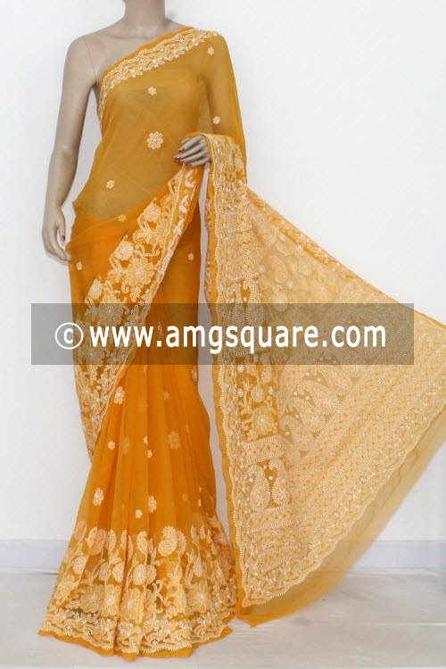 Mustared Hand Embroidered Lucknowi Chikankari Saree (With Blouse - Georgette) 14470