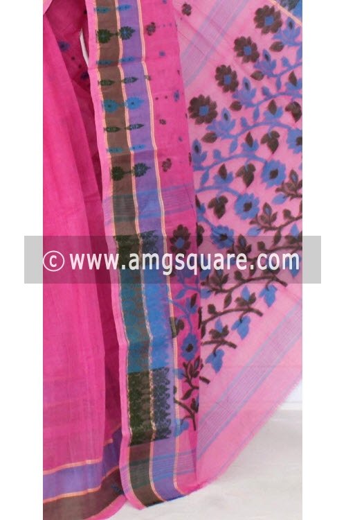 Pink Handwoven Bengal Tant Cotton Saree (Without Blouse) 14182
