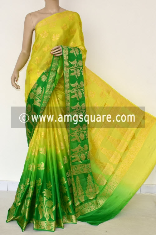 Yellow & Green Banarasi Handloom Khaddi Georgette Saree (With Blouse) Allover Resham Weaving 16173