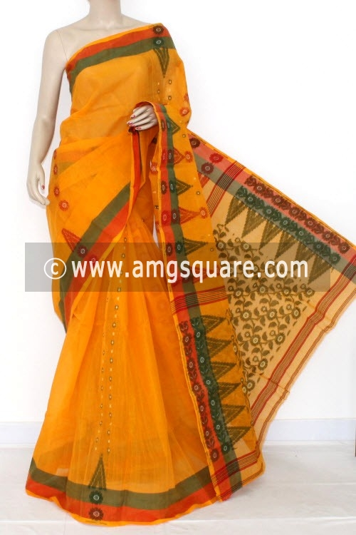 Orange Handwoven Bengal Tant Cotton Saree (Without Blouse) 14186