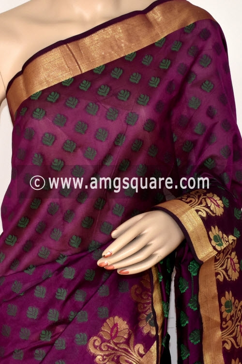 Magenta Handloom Banarasi Semi Cotton Saree (with Blouse) Allover Resham Weaving 16219