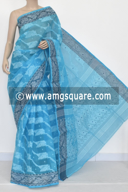 Pherozi Blue Jamdani Handwoven Bengal Tant Cotton Saree (Without Blouse) 13993