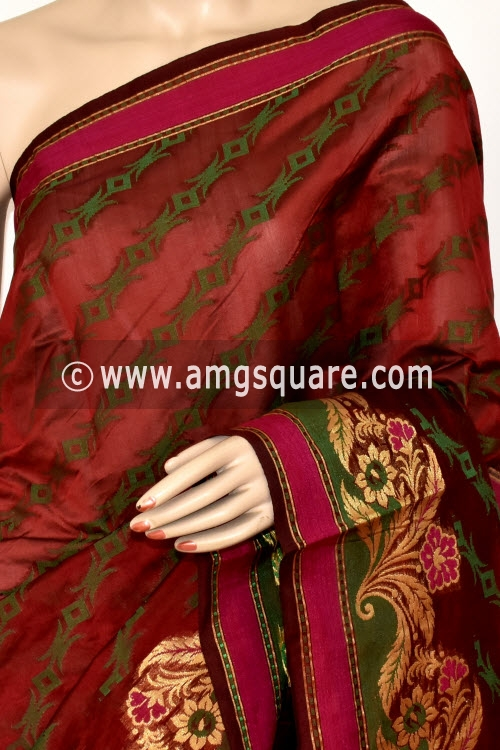 Maroon Handloom Banarasi Semi Cotton Saree (with Blouse) Allover Resham Weaving 16223