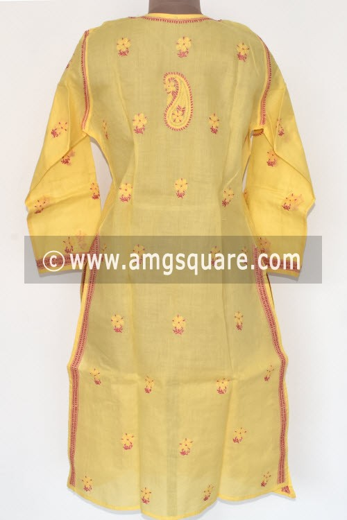 Yellow Hand Embroidered Lucknowi Chikankari Long Kurti (Cotton) Bust-44 inch 17890