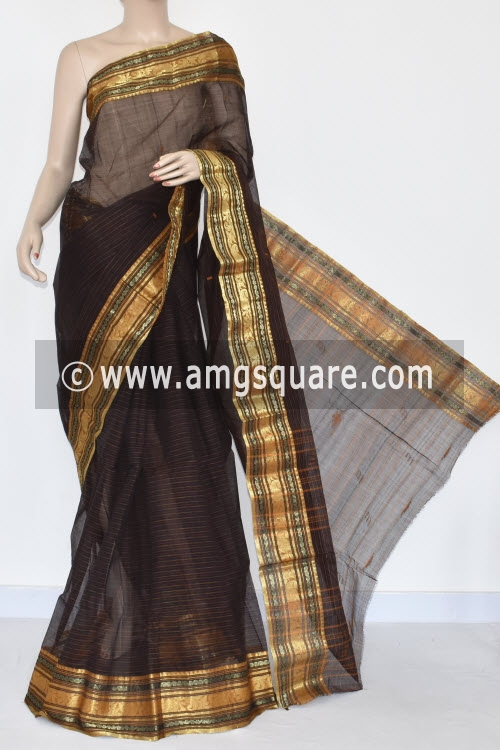 Black Handwoven Bengal Tant Cotton Saree (Without Blouse) Zari Border 17359
