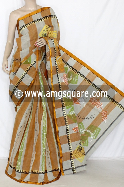 Mustared Light Grey Hand-printed Bengali Tant Cotton Saree (Without Blouse) 13913
