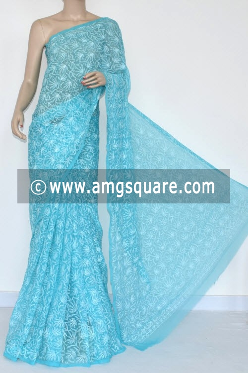 Pherozi Blue Hand Embroidered Lucknowi Chikankari Saree (With Blouse - Georgette) Allover Tepchi Work 14688