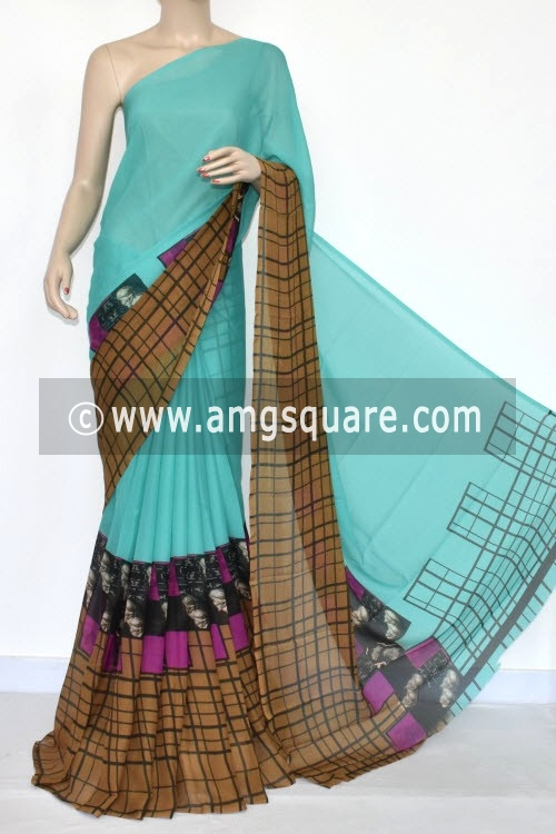 Sea Green Brown Printed Wrinkle Georgette Saree (With Blouse) 13432