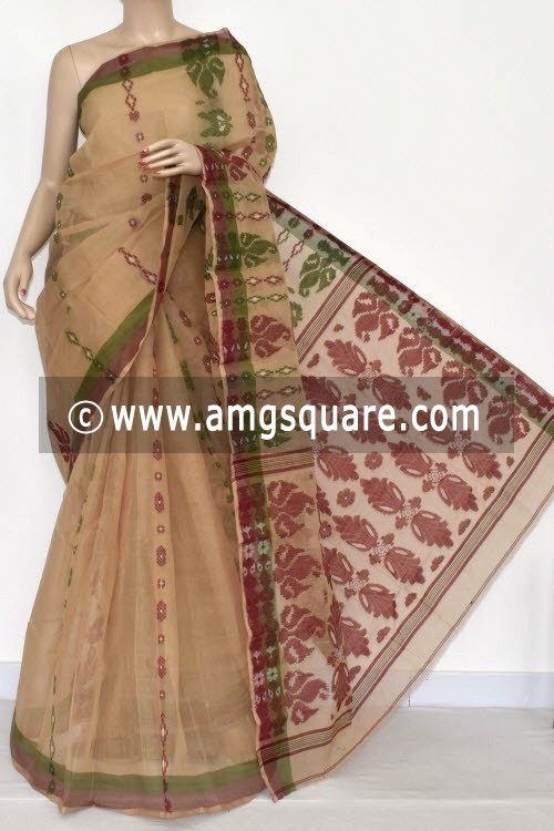 Fawn Handwoven Bengal Tant Cotton Saree (Without Blouse) 14080