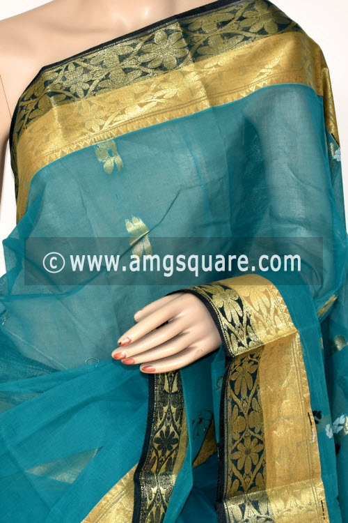 Sea Green Handwoven Bengal Tant Cotton Saree (Without Blouse) Zari Border Rich Pallu 14197