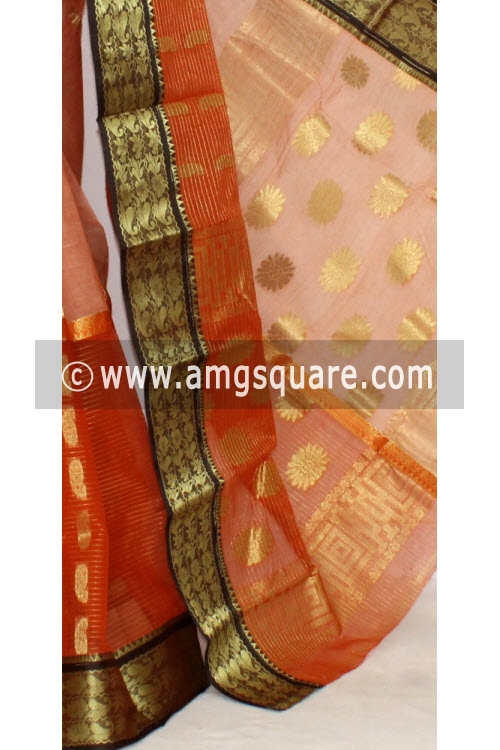 Orange Peach Handwoven Bengal Tant Cotton Saree Zari Border & Pallu (Without Blouse) Half-Half 17285