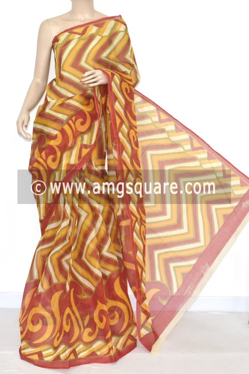 Red Yellow Premium JP Kota Doria Printed Cotton Saree (without Blouse) 15345