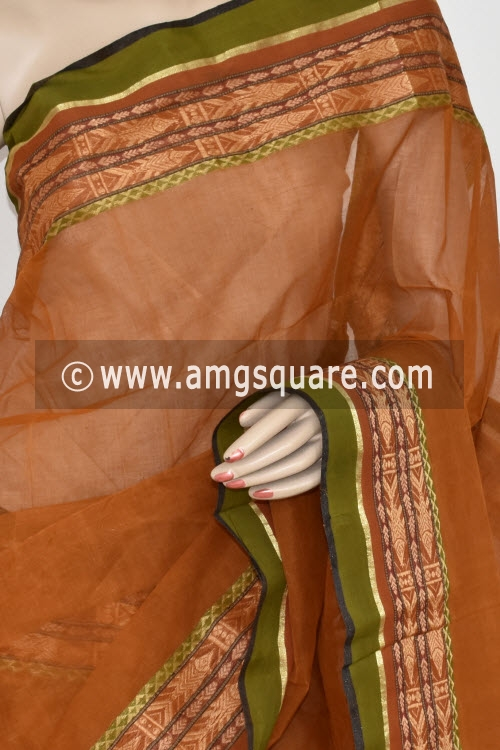 Mustared Handwoven Bengal Tant Cotton Saree (Without Blouse) 17358
