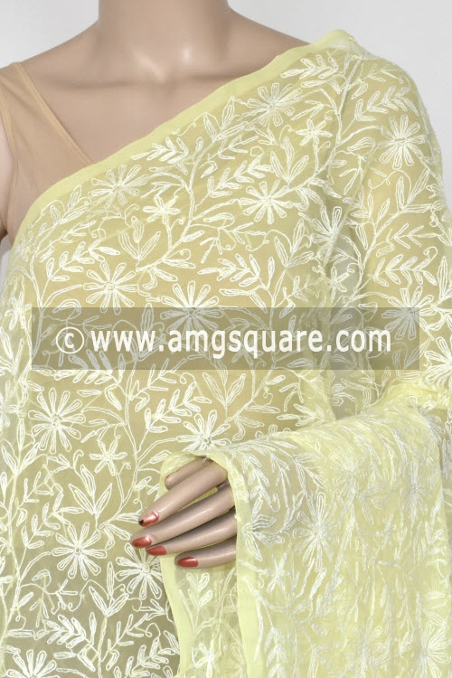 Lemon Yellow Hand Embroidered Allover Tepchi Work Lucknowi Chikankari Dupatta (Georgette) 17936