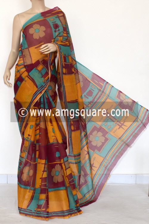 Magenta Yellow Premium JP Kota Doria Printed Cotton Saree (without Blouse) 15404
